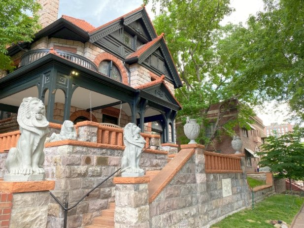 View of the exterior of The Molly Brown House, a top attraction in Denver