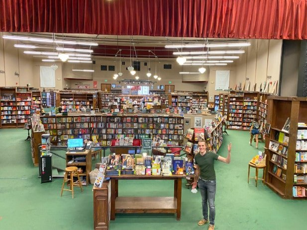 The author standing at the Tattered Cover Bookstore Colfax location