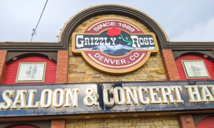 View of the sign at the Grizzly Rose, a top thing to do in Denver Colorado