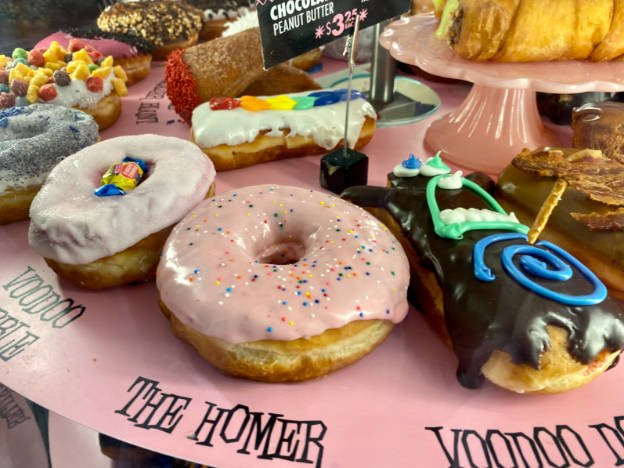 Several colorful donuts at Voodoo Doughnut in Denver