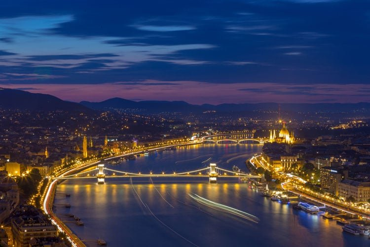 River Danube views by night in Budapest
