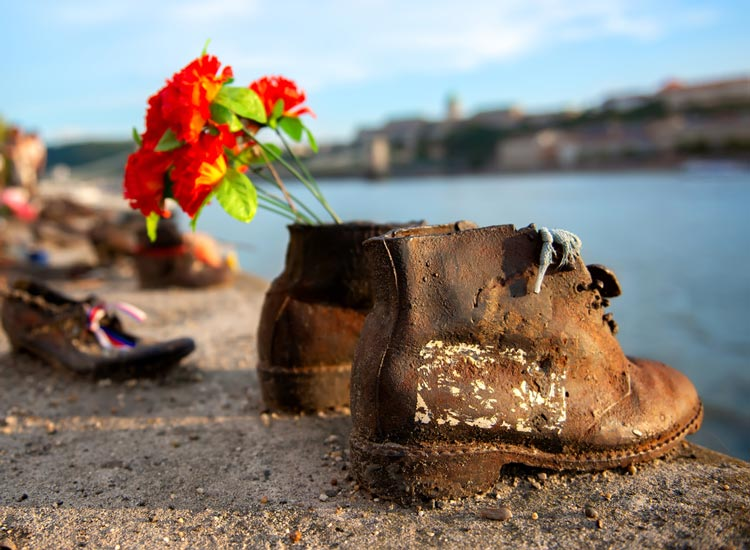 Shoes on the Danube history memorial in Budapest Hungary