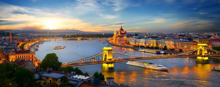 Landscape of Budapest with Chain Bridge over Danube River