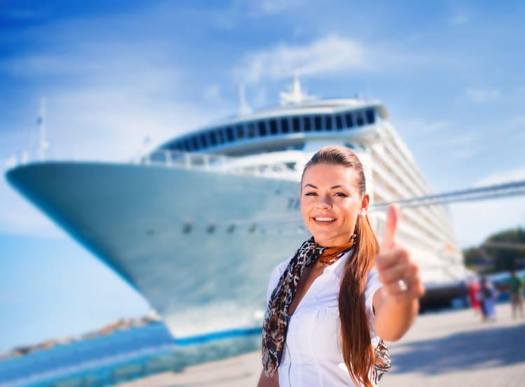 Woman near a cruise ship
