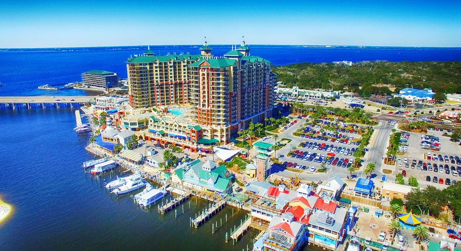 View of the Emerald Coast and the Destin Florida Downtown