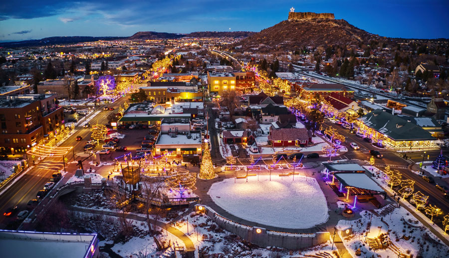 Aerial view of Downtown Castle Rock at night during Christmas season