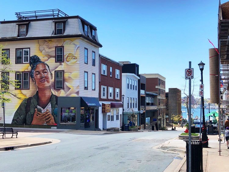 Portland Street in downtown Dartmouth with mural on building