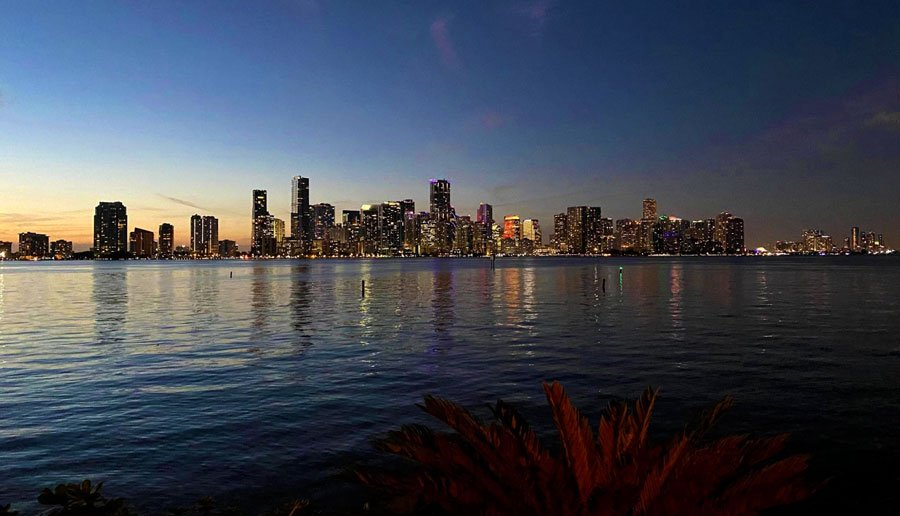 View of the skyline in Downtown Miami before night time
