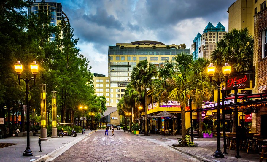View of a brick street in the Downtown Orlando neighborhood