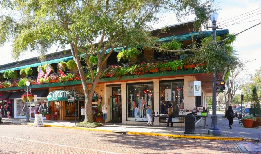 View of shops in downtown Winer Park FL