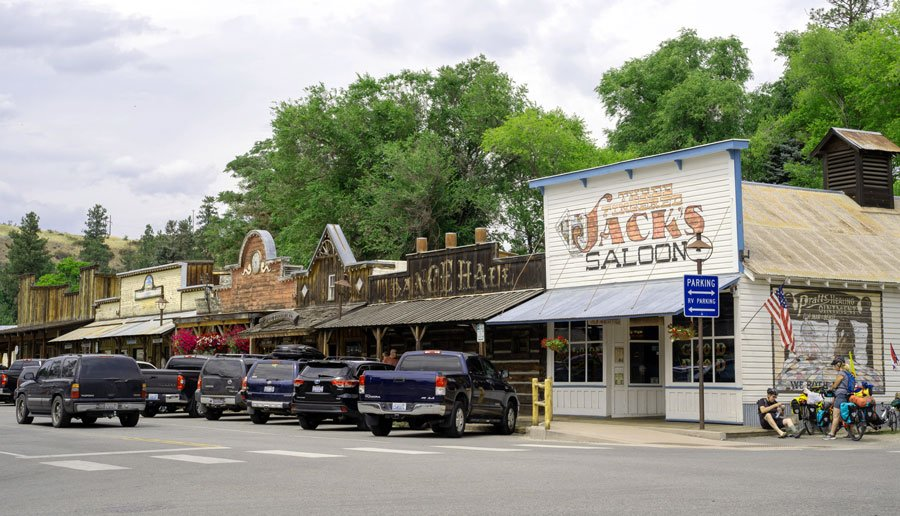 View of a wild west theme street in Winthrop