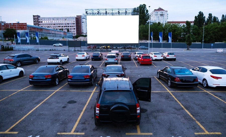 View of cars parked in drive-in theatre