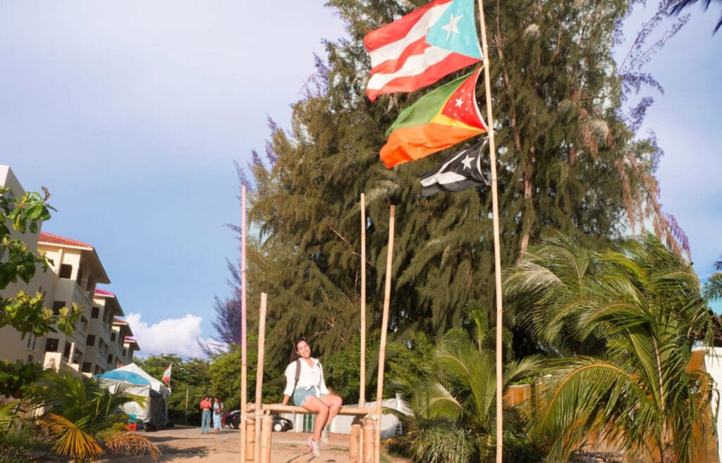 The author sitting on a bamboo with different flags on her side