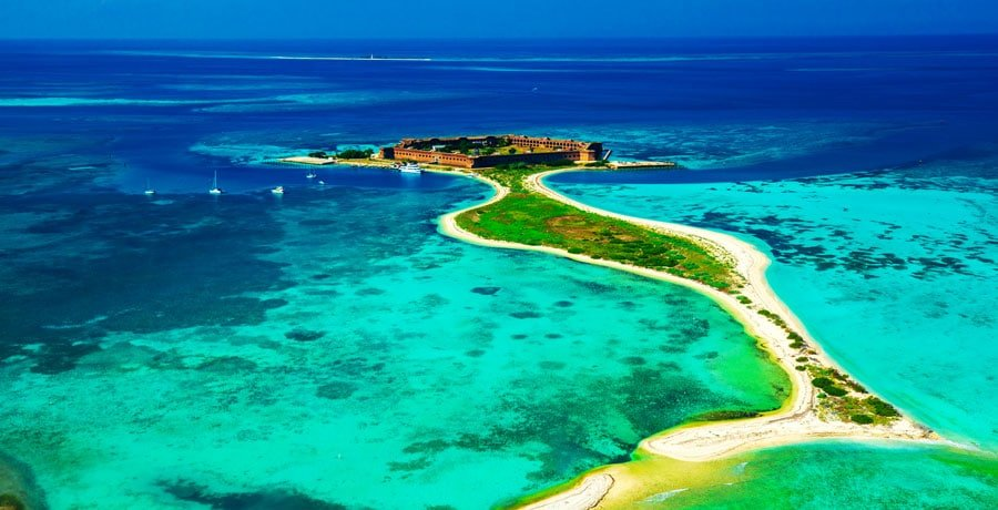 Aerial view of Fort Jefferson in the middle of the ocean