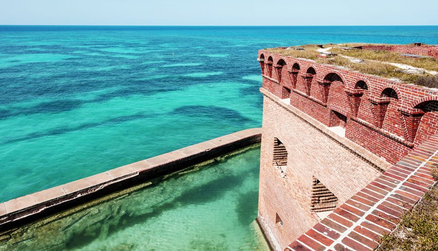View of the Dry Tortugas National Park and a blueish sea