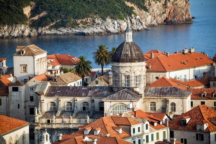 An aerial shot of the old city of Dubrovnik in southern Croatia