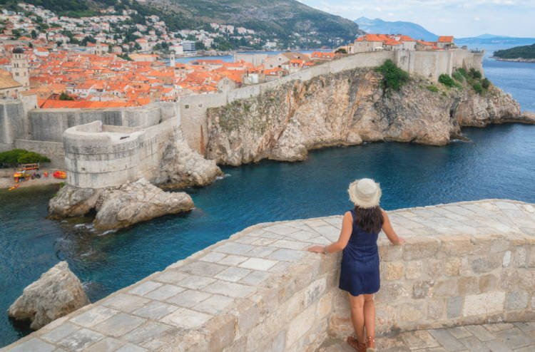 Woman looking out over Dubrovnik