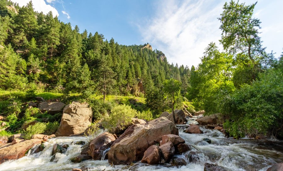 View of the Eldorado Canyon Trail and a rocky river