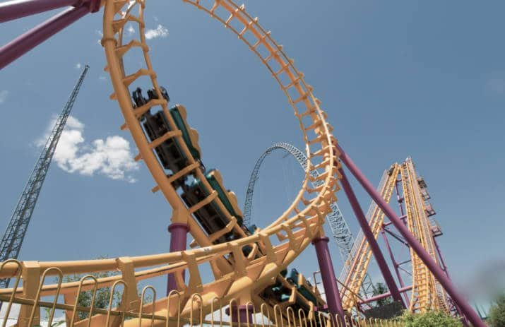 A roller coaster at Elitch Gardens