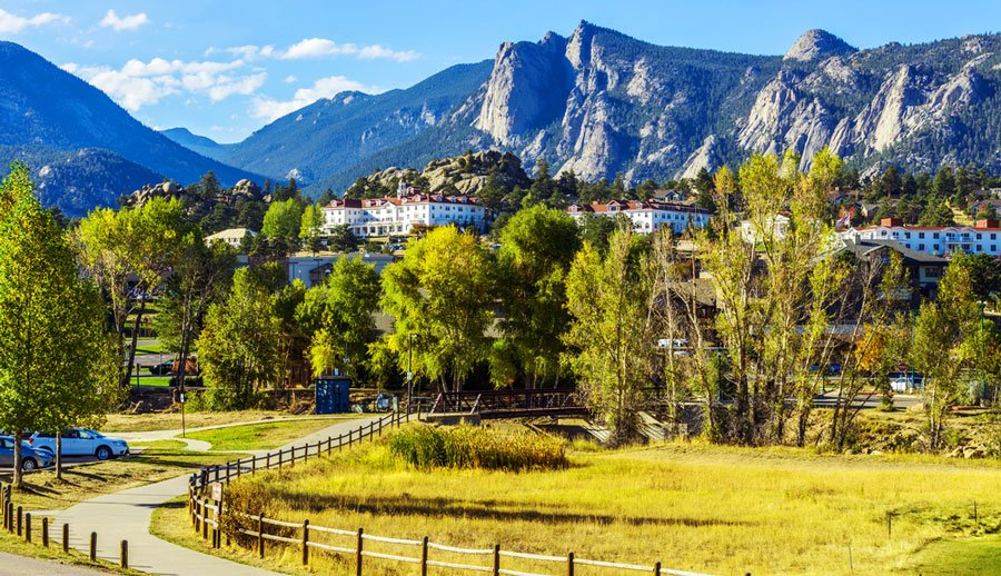 View of the Estes Park and Rocky Mountain in the background