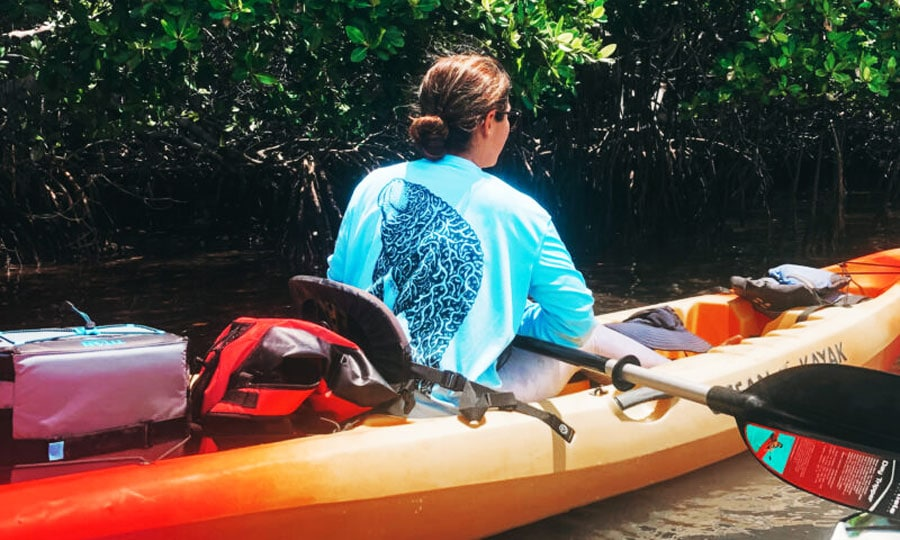 View of the author kayaking in Everglades National Park