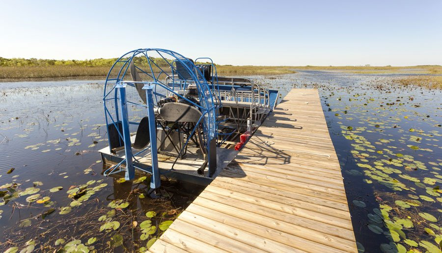 View of an airboat in Everglades