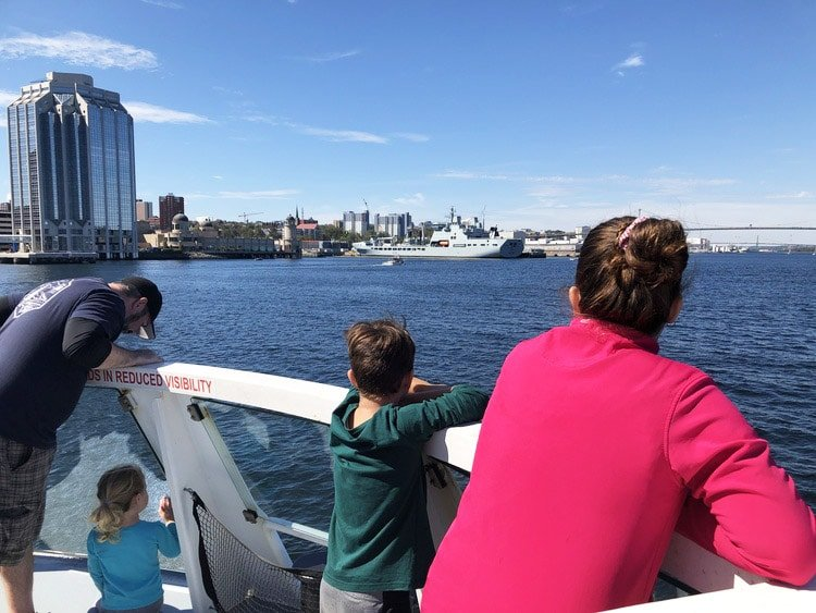 Kids aboard the Ferry looking at the city