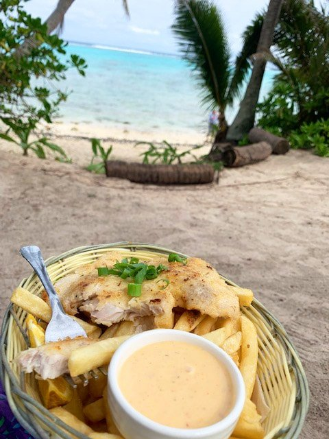 Seafood on beach in Rarotonga