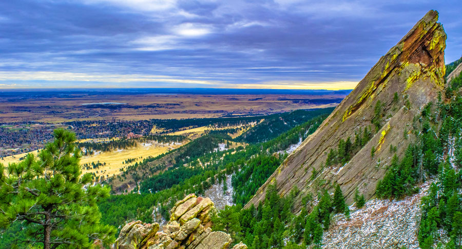 View of the famous flatirons in Boulder