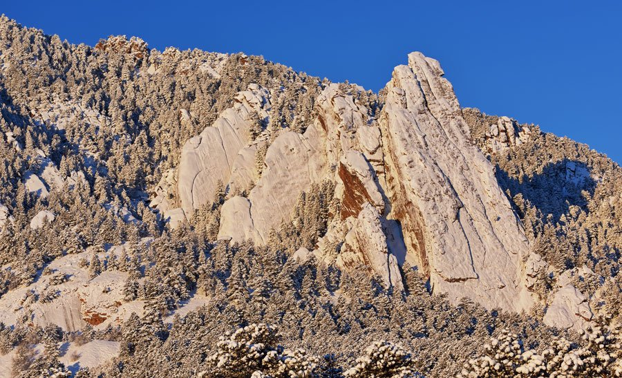 View of the flatirons in Boulder Colorado