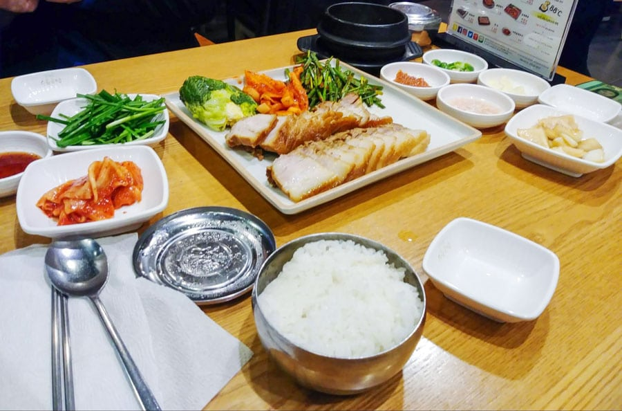 View of authentic dishes from South Korea