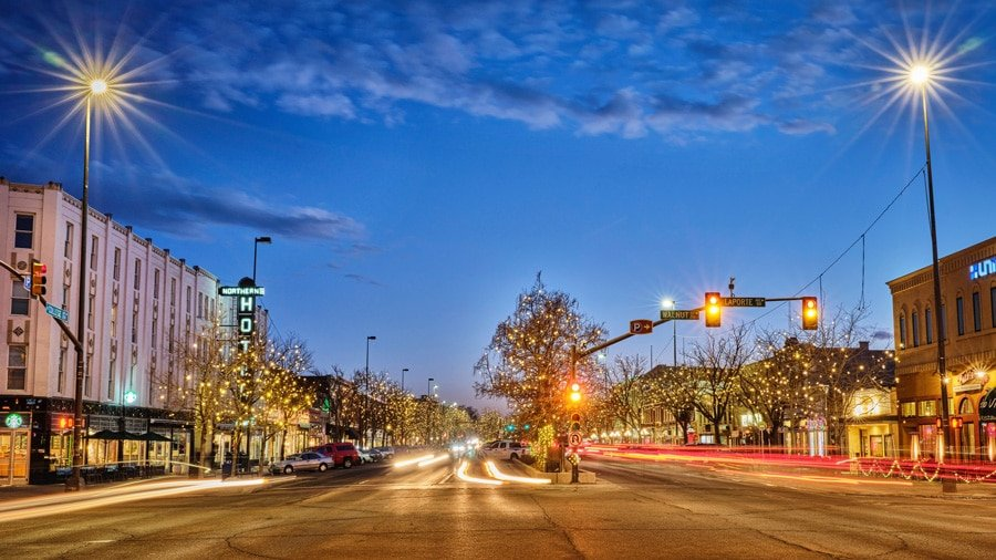 View of main street in Fort Collins at night