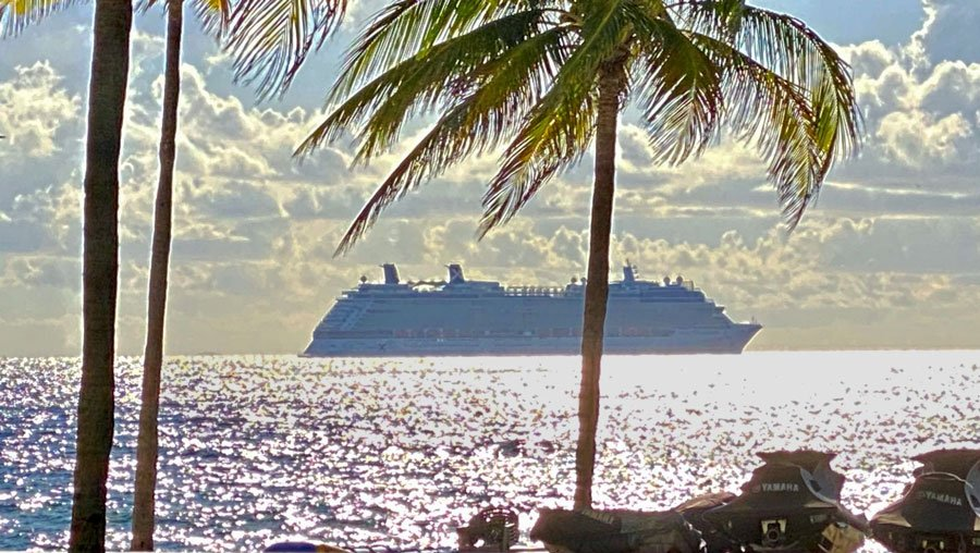 A cruise ship on Fort Lauderdale Beach