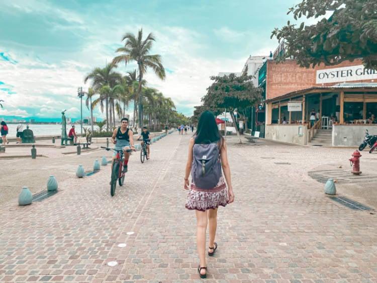 Author walking along the Malecón on the Free Walking Tour Puerto Vallarta