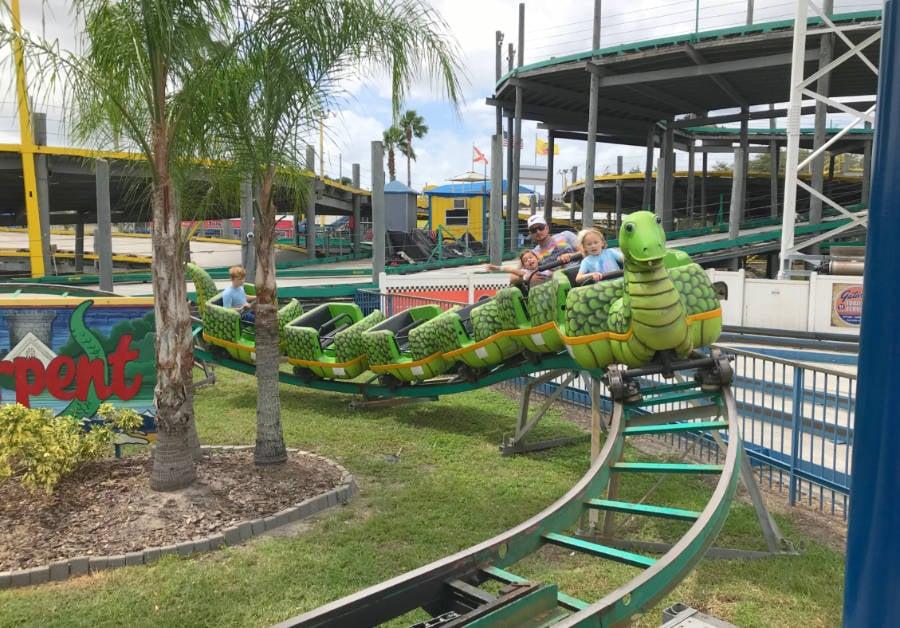 View of a kids roller coaster at Fun Spot Orlando