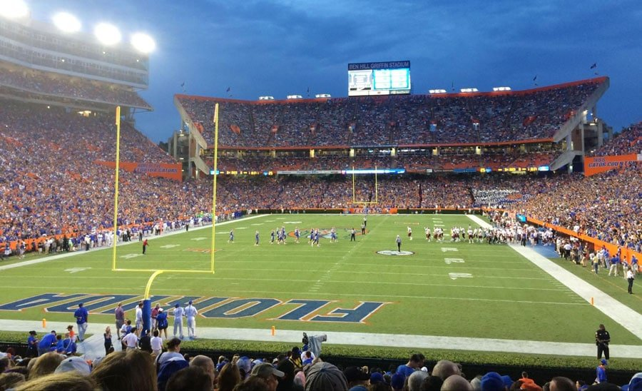 A football game night in a football field in Gainesville