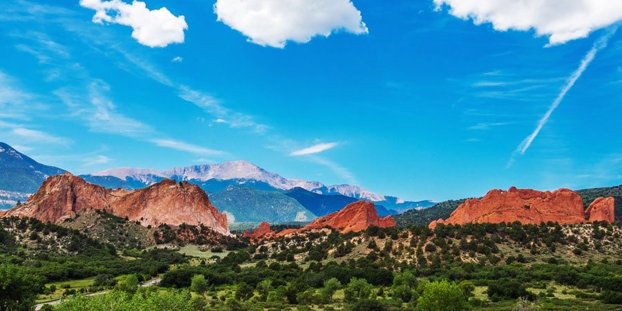 Scenic view of the Garden of the Gods from afar