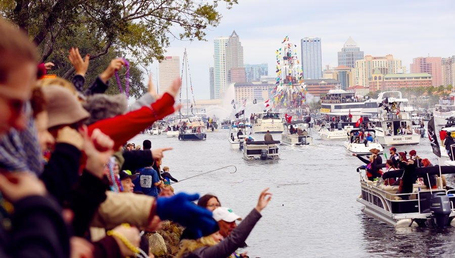 View of people watching the Pirate Festival