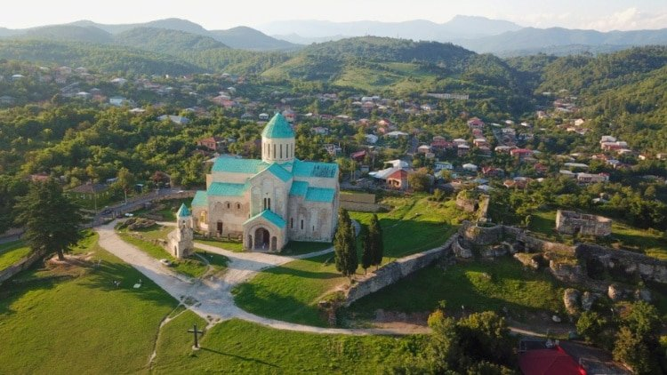 Church in Kutaisi Georgia by drone