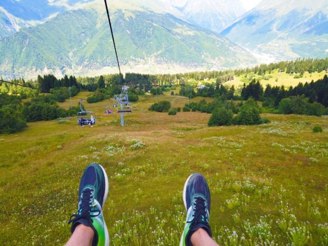 Riding the Ski Lift to Zuruldi Restaurant in Mestia
