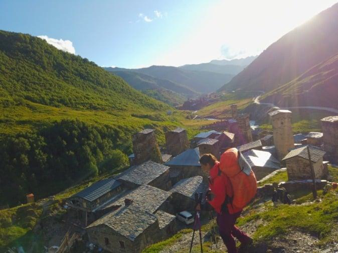 Hikers in Ushguli Georgia