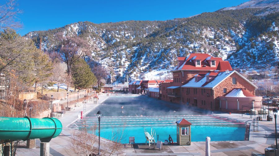 View of the world's largest hot springs pool