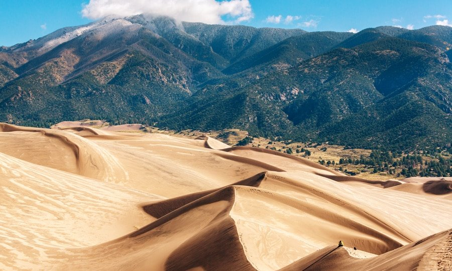 View of the tallest sand dunes in North America and he Sangre De Cristo Mountains  on the background