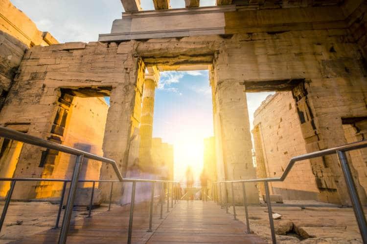 light shining through ancient Greek ruins
