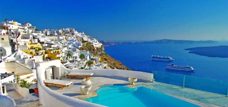 View of an infinity pool on the island of Santorini, Greece