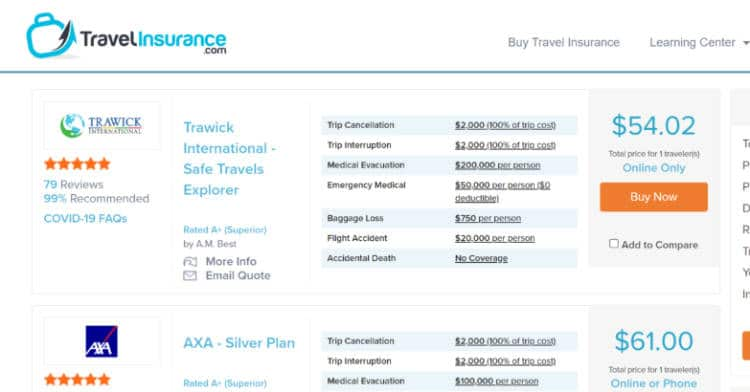 screenshot of a popular travel insurance booking site for Greece