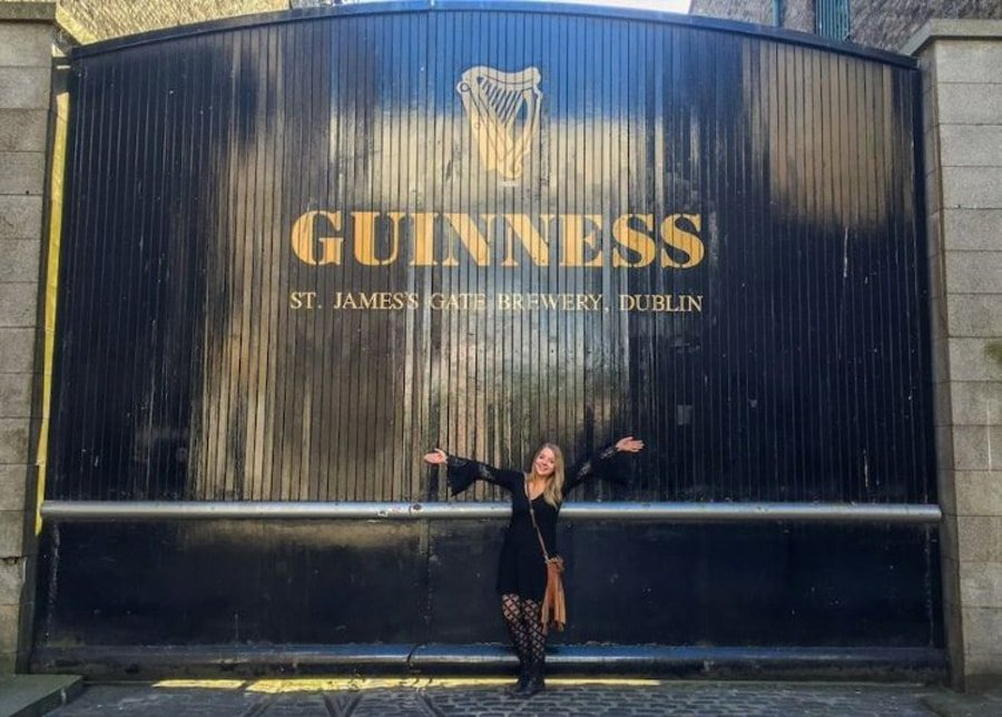 View of the author in front of the gate of Guinness Brewery