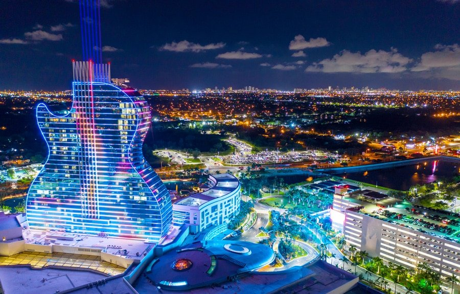 View of the guitar hotel and the city at night