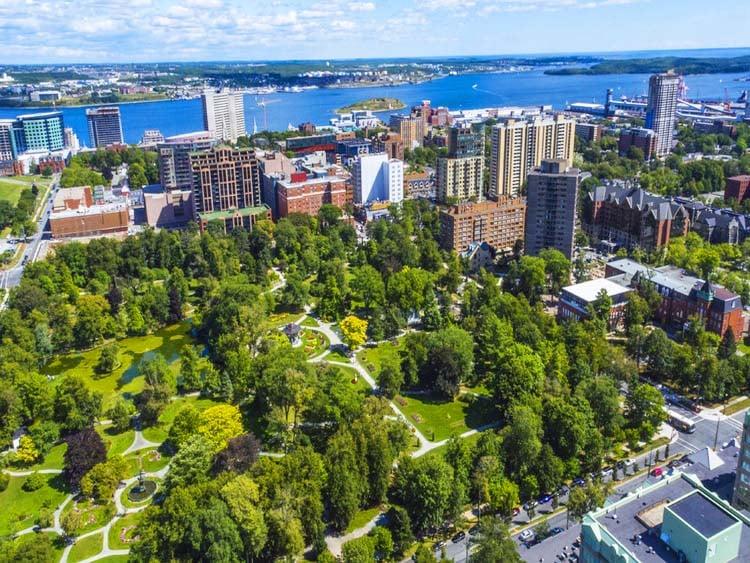 aerial view of Halifax Public Gardens