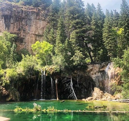 View of a bluish-green shade lake in Hanging Lake